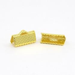 Embout ruban en fer, or, 7x13mm, Trou: 2mm(E005Y-G)