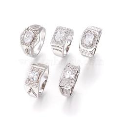 Bagues en 304 acier inoxydable, avec zircons, anneaux large bande, clair, couleur inoxydable, taille 9, 19mm(RJEW-O034-07P-19mm)