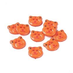Boutons acryliques de couture, boutons en plastique, 2-trou, teint, Bear Head, Darkorange, 17x16x2 mm, Trou: 2 mm(X-BUTT-E063-A-08)