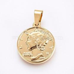 Pendentifs en 304 acier inoxydable, pièce de monnaie, or, 21x18x3mm, Trou: 7x4mm(STAS-H458-10G)