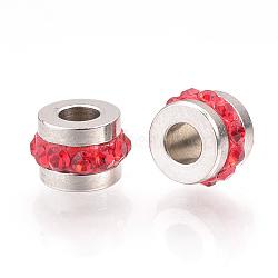 304 Stainless Steel Rhinestone Beads, Column, Light Siam, 7x5mm, Hole: 3mm(RB-R052-08)