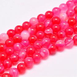 Natural Striped Agate/Banded Agate Bead Strands, Dyed & Heated, Round, Grade A, PaleVioletRed, 6mm, Hole: 1mm; about 63pcs/strand, 14.7inches(375mm)