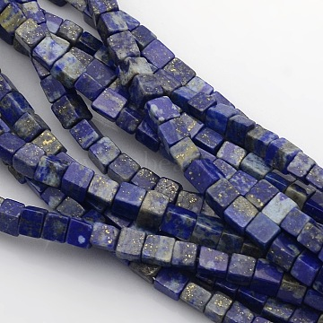 Cube Natural Lapis Lazuli Beads Strands, 4x4x4mm, Hole: 1mm; about 85~100pcs/strand, 15.3inches~15.8inches(X-G-P057-02)