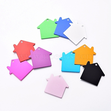 Pet Aluminium Pendants, Stamping Blank Tag, House, Mixed Color, 35x38x1mm, Hole: 3mm(ALUM-I002-04)