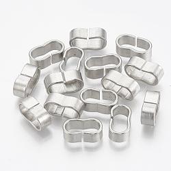 304 glissière en acier inoxydable, rectangle ovale, couleur inoxydable, 10.5x4.5x6.5mm, Trou: 4x8mm(STAS-T031-07)