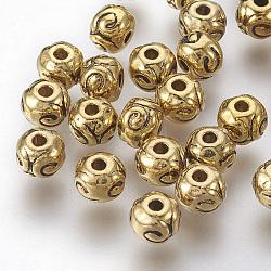 perles en alliage d'argent tibétain, arrondir, sans plomb libre et nickel et cadmium libre, or antique, 5.5x4.5 mm, trou: 1 mm(X-GLF5012Y-NF)