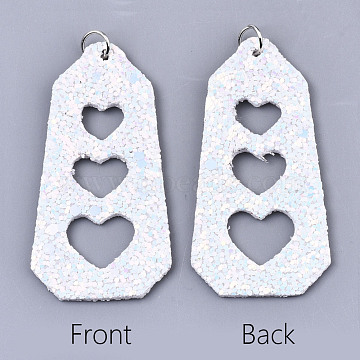 PU Leather Big Pendants, with Sequins/ Paillettes and Platinum Tone Iron Jump Rings, Polygon with Heart, White, 62x31x2mm, Hole: 5mm(FIND-R084-03F)