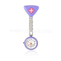 Montres de poche de croix rouge de table d'infirmière en alliage, avec un alliage de table émail de triangle, chaînes métalliques et clips de fer, Mediumpurple, 86 mm; cadran montre: 29x8 mm; boitier montre: 21 mm; triangle: 27x30x18 mm.(WACH-N007-04C)