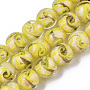 Handmade Gold Sand Lampwork Beads Strands, Round, Yellow, 11.5~12.5x11~12mm, Hole: 1.2mm; about 45pcs/Strand, 20.08''