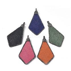 Gros pendentifs en cuir de poisson, avec strass en pâte polymère et les accessoires en laiton, cerf-volant, gunmetal, couleur mixte, 87~88.5x47.5x2.5~3.5mm, Trou: 5.5x6.5mm(RB-F033-12B)
