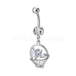 Piercing Jewelry, Environmental Brass Cubic Zirconia Navel Ring, Belly Rings, Basket, Clear, Platinum, 47x16mm(AJEW-EE0006-15)