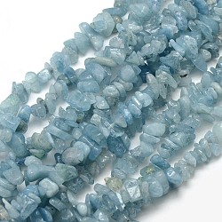 """Chapelets de perles de puces aigue-marine naturelles, 5~8x5~8mm, trou: 1 mm; environ 32""""(X-G-L154-19)"""