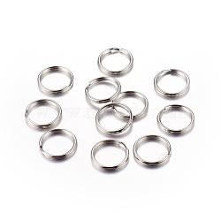 Porte-clés platine ton fendus de fer, anneau, 15x2 mm; diamètre intérieur: 12 mm(X-IFIN-C057-15mm)