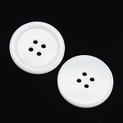 Boutons de résine 4-hole, teint, plat rond, blanc, 13x2mm, Trou: 1mm(X-RESI-D030-13mm-01)