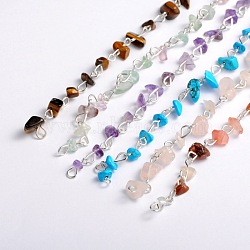 Handmade Gemstone Chips Beads Chains for Necklaces Bracelets Making, with Silver Color Plated Iron Eye Pin, Unwelded, Mixed Stone, 39.3 inches, Beads: 5~9mm(AJEW-JB00043)