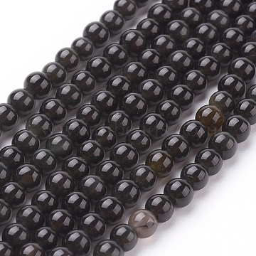 4mm Black Round Obsidian Beads