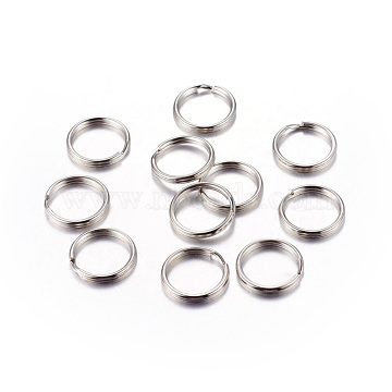 Platinum Plated Iron Split Key Rings, Keychain Clasp Findings, 15x2mm, Inner Diameter: 12mm(X-IFIN-C057-15mm)