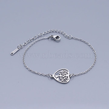 201 Stainless Steel Link Bracelets, with Lobster Claw Clasps, Tree of Life with Heart, Stainless Steel Color, 6-5/8 inches~6-3/4 inches(16.9~17.05cm)(BJEW-T011-JN486-1)
