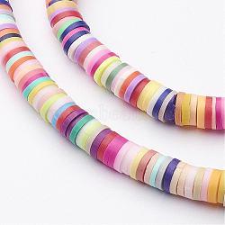 main perles en pate polymère, disque / rond plat, perles heishi, couleur mélangée, 5x1 mm, trou: 2 mm; environ 380~400 perle / brin, 17.7(X-CLAY-R067-5.0mm-M1)