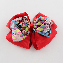 Girls' Kawaii Bowknot Alligator Hair Clips, Iron Alligator Hair Clips with Printed Grosgrain Ribbon, Red, 120x150mm(PHAR-R137-06)