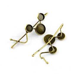 Accessoires bobby épingle à cheveux en fer, laiton avec plateau rond plat, bronze antique, plateau: 8~12 mm; 67.5x22 mm(MAK-Q001-031AB)