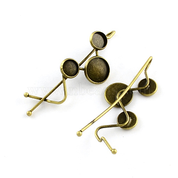 Iron Hair Bobby Pin Findings, with Brass Flat Round Tray, Antique Bronze, Tray: 8~12mm; 67.5x22mm(MAK-Q001-031AB)