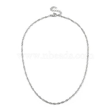 304 Stainless Steel Singapore Chain Necklaces(NJEW-JN02930-01)-1