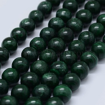 Natural Malachite Beads Strands, Grade B, Round, 5mm, Hole: 0.7mm; about 80pcs/strand, 15.5 inches(39.5cm)(G-F571-27B2-5mm)