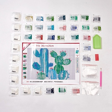 DIY Full Round Diamond Painting, Cactus, 3D Diamond Picture Home Decor, Mixed Color, 35.8x26cm(DIY-WH0102-02)