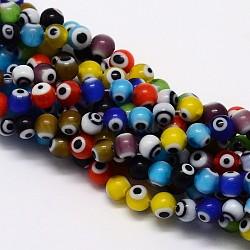 """Chapelets de perle rondes au mauvais œil manuelles, couleur mixte, 10mm, trou: 1mm; environ 39 pcs/chapelet, 14.96""""(X-LAMP-L055-10mm-M)"""