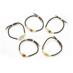 bracelets réglables en nylon, bracelets bolo, bracelets de slider, chaînes de boîte, avec maillons en laiton pavés d'oxyde de zirconium et verre, plaqué longue durée, Pi Xiu, réel 24 k plaqué or, couleur mélangée, 9 (23 cm) ~ 9-5 / 8 (24.5 cm); 2~3.5 mm(BJEW-F362-A02)
