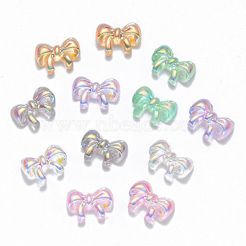 Resin Cabochons, Nail Art Decoration Accessories, AB Color Plated, Bowknot, Mixed Color, 6.5x9x2.5mm(X-MRMJ-R063-05)