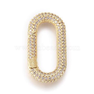 Brass Spring Gate Rings, with Cubic Zirconia, Oval, Clear, Golden, 31.5x16x4mm; Inner Diameter: 23.5x8mm(KK-D159-26G-A)