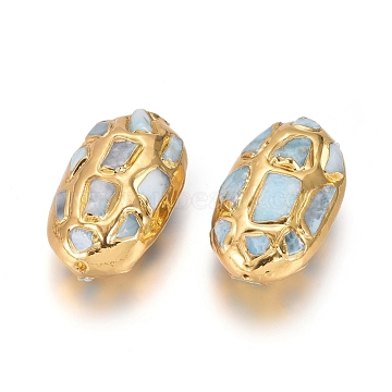 Natural Larimar Beads Beads, Brass Edge Golden Plated, Oval, 41~43x24~28.5x18~20mm, Hole: 1mm(G-E562-10)