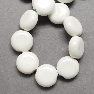 Handmade Porcelain Beads, Bright Glazed Porcelain, Flat Round, White, 15x14x7mm, Hole: 3mm(X-PORC-Q215-15x14mm-03)