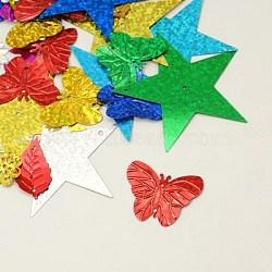 paillettes / paillettes en plastique, formes mixtes, couleur mélangée, 13~50x11~53x0.2~0.4 mm, trou: 1 mm(PVC-Q001-M)