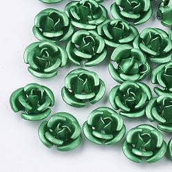 Perles en aluminium, givré, plaqué longue durée, 3 fleur -petal, mediumseagreen, 6x4.5 mm, trou: 0.8 mm(X-FALUM-T001-02A-05)