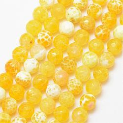 Natural Fire Agate Bead Strands, Round, Grade A, Faceted, Dyed & Heated, Yellow, 8mm, Hole: 1mm; about 47pcs/strand, 15inches