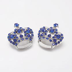 Pendentifs en strass, avec les accessoires en alliage, couronne, platine, bleu royal, 31x29x10mm, Trou: 3mm(X-RSB453-2)