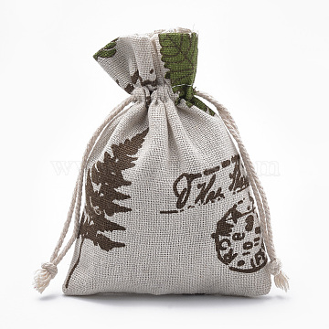 Polycotton(Polyester Cotton) Packing Pouches Drawstring Bags, Old Lace, 14x10cm(X-ABAG-T006-A14)
