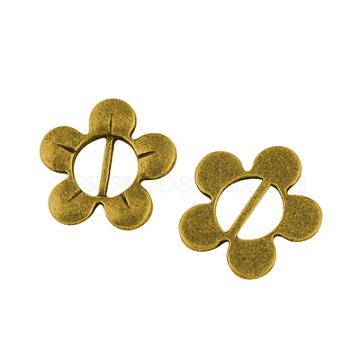 Alloy Dress Buckles, Lead Free, Flower, Antique Golden, 15.5x16x1.5mm, Hole: 7x3mm(PALLOY-A19048-AG-LF)