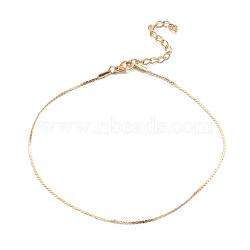 304 Stainless Steel Serpentine Chain Anklets, with Lobster Claw Clasps, Golden, 9-3/8inches(23.8cm)(AJEW-G024-08G)