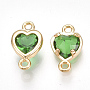 Brass Links, with Glass, Heart, Real 18K Gold Plated, LimeGreen, 10.5x6x3mm, Hole: 1mm