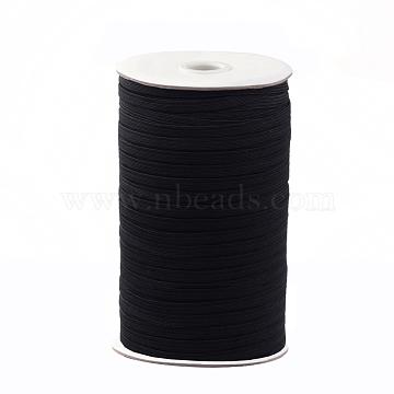 1/4inch Flat Braided Elastic Rope Cord, Heavy Stretch Knit Elastic with Spool, Black, 6mm; about 190~200yards/roll (570~600 feet/roll)(EC-R030-6mm-02)