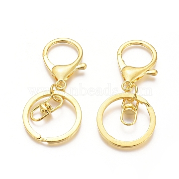 Iron Alloy Lobster Claw Clasp Keychain, Golden, 68x30mm(X-KEYC-D016-G)
