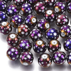 Christmas Electroplate Glass Beads, Round with Star Pattern, Purple Plated, 10mm, Hole: 1.2mm