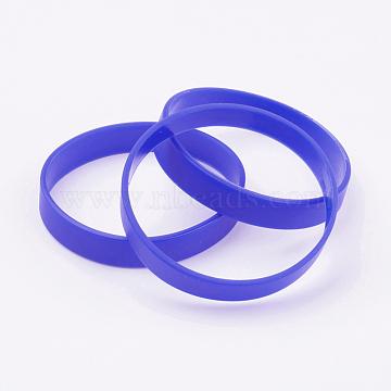 Silicone Wristbands Bracelets, Cord Bracelets, Blue, 2-1/2 inches(63mm); 12x2mm(BJEW-J176-02)