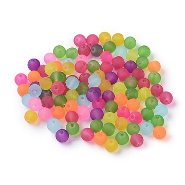 Frosted Glass Beads, Mixed Color, Round, about 6mm in diameter, hole: 1mm(X-GGB6MMY-DKM)