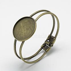 латуни браслет делает, пустое основание браслета, с обнаружением железного лотка, плоские круглые, античная бронза, лоток: 30 мм; 62x48 мм(X-MAK-Q011-73AB-30mm)
