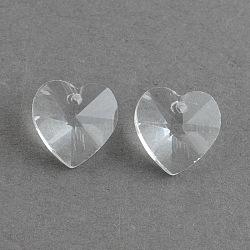 Pendentifs coeur en verre transparent, facette, clair, 14x14x8mm, Trou: 1.5mm(X-EGLA-R082-07)